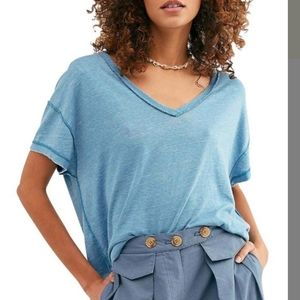 NWT Free People All Mine Slouch Backless Top Blue